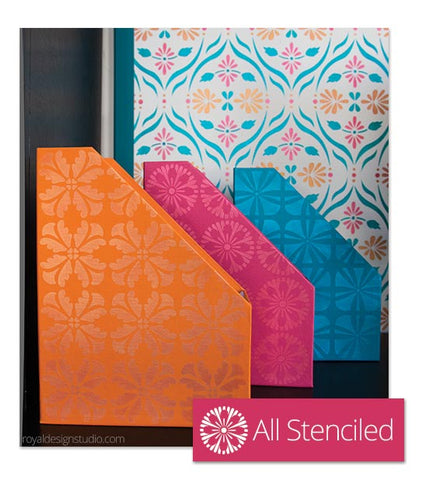 Modern allover floral stencils DIY stenciling project for desk