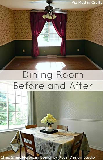Royal Design Studio Stencils Transform a Dining Room!  Project by Mad in Crafts.