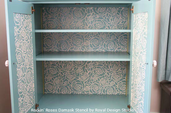 Inspiring Stenciled Furniture Bookcase And Cabinet Ideas