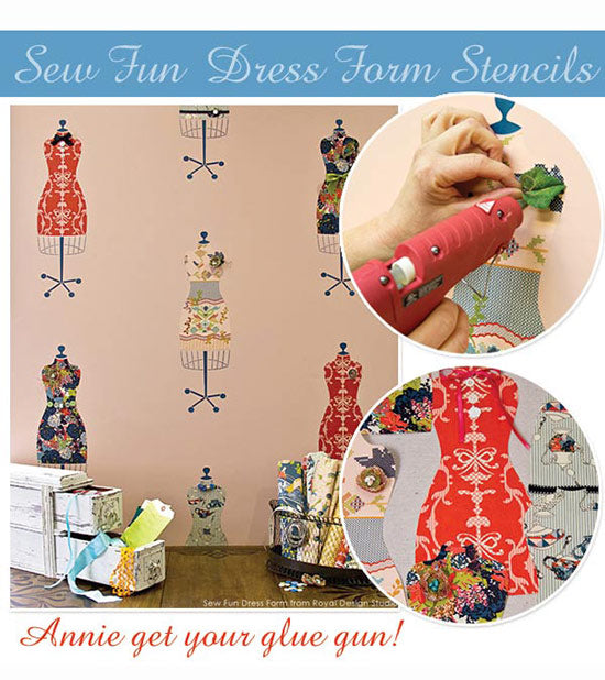 Dress Form Stenclls from Bari J stencil collection all dressed up with glued on notions from the scrapbooking section. Fun project from Royal Design Studio