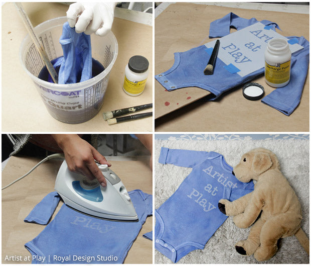 Cute baby gift idea! Hand dye and stencil a onesie with an inspiring lettering stencil from Royal Design Studio. Encourage creativity at any age!!