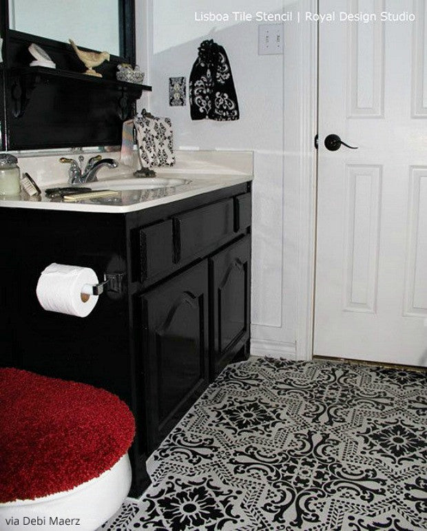 Can You Paint Over Bathroom Wall Tiles: Paint Vinyl & Linoleum With Floor Stencils