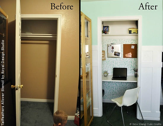 Turning a Closet into an Office Space with Paint and Stencils | Project by Sew Dang Cute | Royal Design Studio Stencils