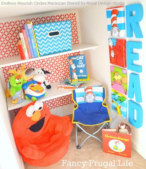 Close Nook to Play Room - Fancy Frugal Life Designed a Fun space for kids with paint and stencils | Royal Design Studio