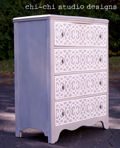 stenciled furniture with Chez Sheik Moroccan Stencil