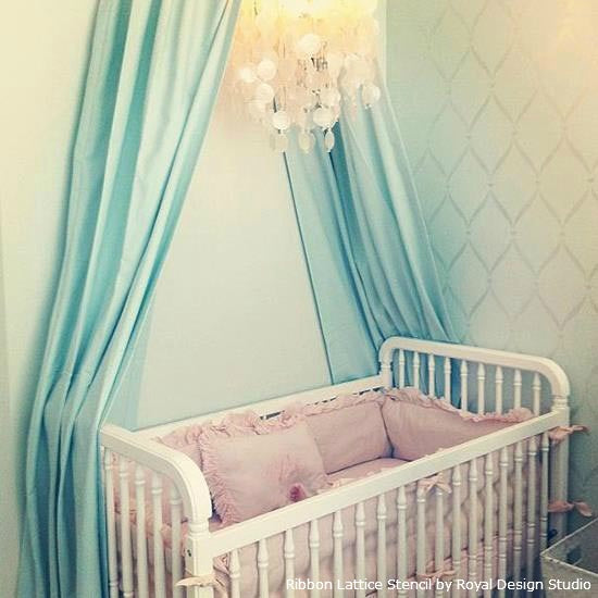Glam Nursery for a Baby Girl | Ribbon Lattice Stencil by Royal Design Studio