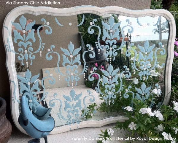 Using Stencils in a Garden | Stenciled Garden Mirror | Serenity Damask Stencil from Royal Design Studio
