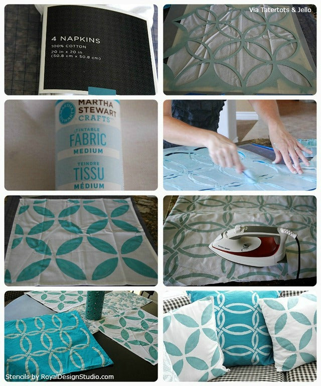 Steps for Stenciling a Pillow | Royal Design Studio Stencils