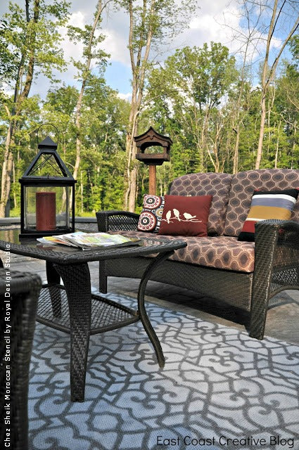 Stenciling an Outdoor Patio Rug | Royal Design Studio Stencils | Project by East Coast Creative