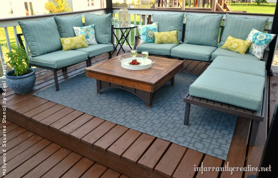 How to Stencil an Outdoor Patio Rug | Project by Infarrantly Creative using the Hollywood Squares & Stencil Paint and Pattern Ideas for Stylish Outdoor Rugs