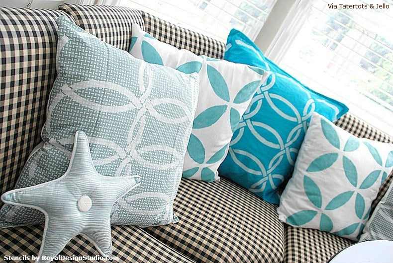 How to Stencil Patterns on Pillows | Royal Design Studio Stencils | Project by Jennifer of Tatertots & Jello