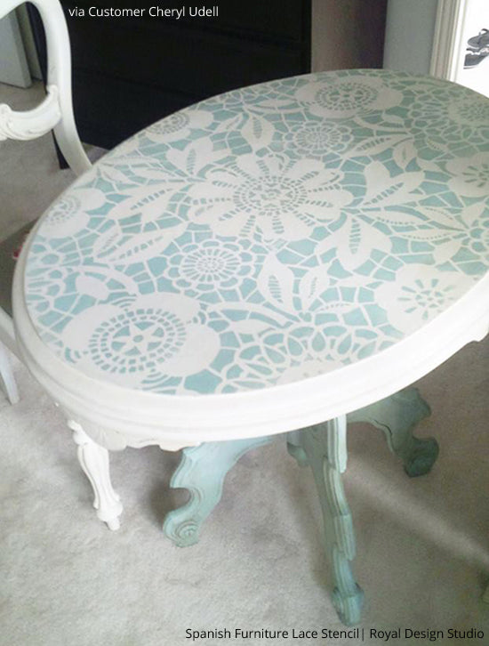Paint And Stencil Pretty Table Tops Royal Design Studio