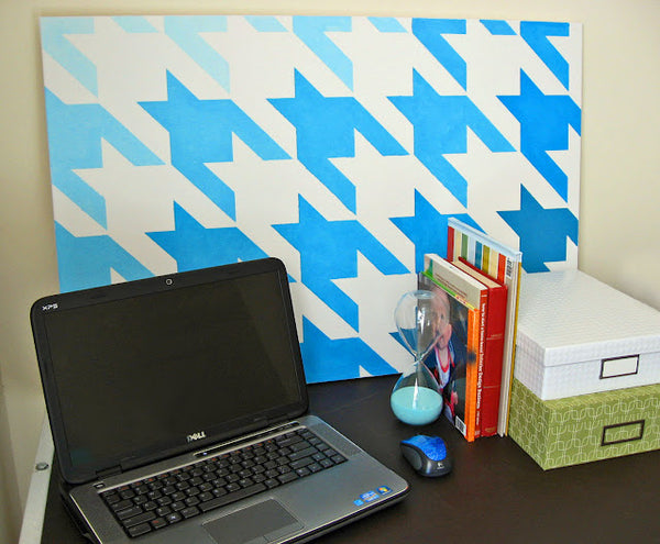 houndstooth stenciled canvas