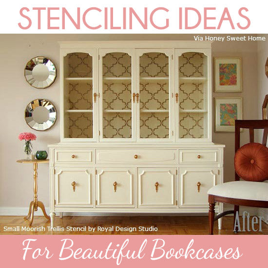 Stenciling Ideas for Backs of Bookcases with Small Moorish Trellis Stencil from Royal Design Studio