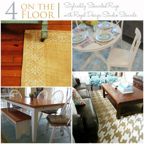 Stenciling stylish custom rugs with stencils from Royal Design Studio