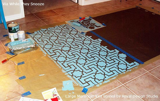 Stenciling a Fabric Curtain Panel How-to | Project by While They Snooze | Royal Design Studio Stencils