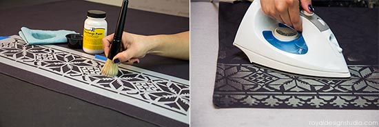 How to stencil with Jacquard Discharge Paste via Royal Design Studio Stencils