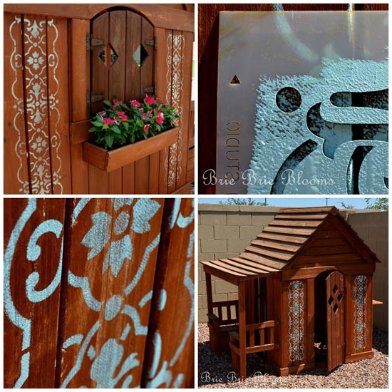 stenciling on a children's playhouse