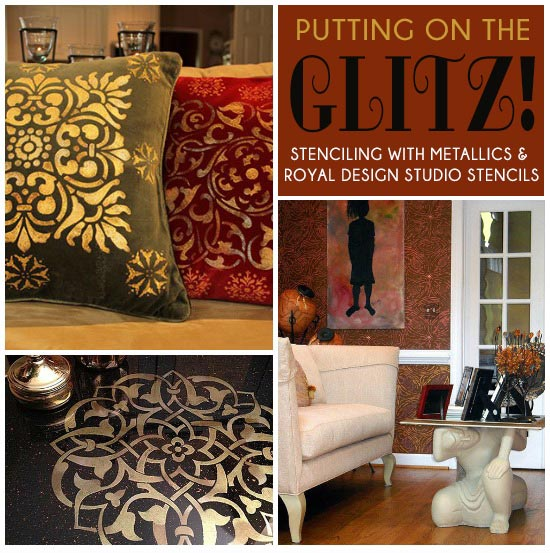 Stencil ideas for decorating with metallic paints with stencils from Royal Design Studio