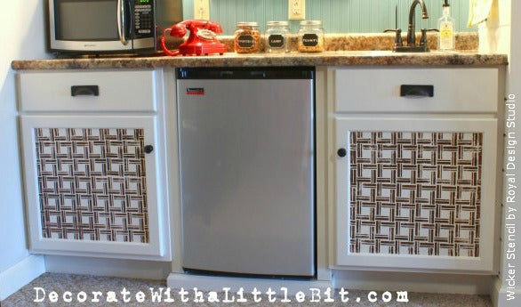 Stenciling on Cabinet Door Fronts with an Allover Stencil by Royal Design Studio | Project by Decorate with a Little Bit