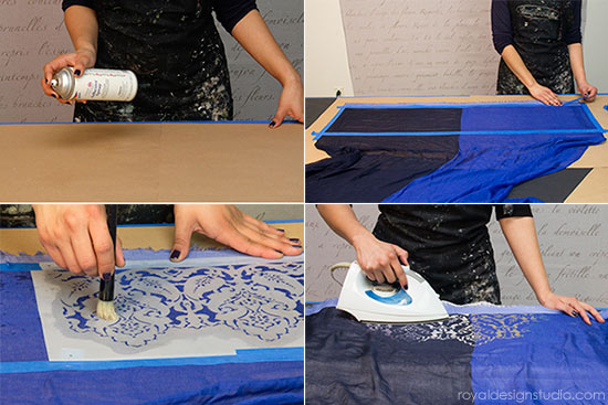 Tips for how to stencil with Jacquard Discharge Paste via Royal Design Studio stencils