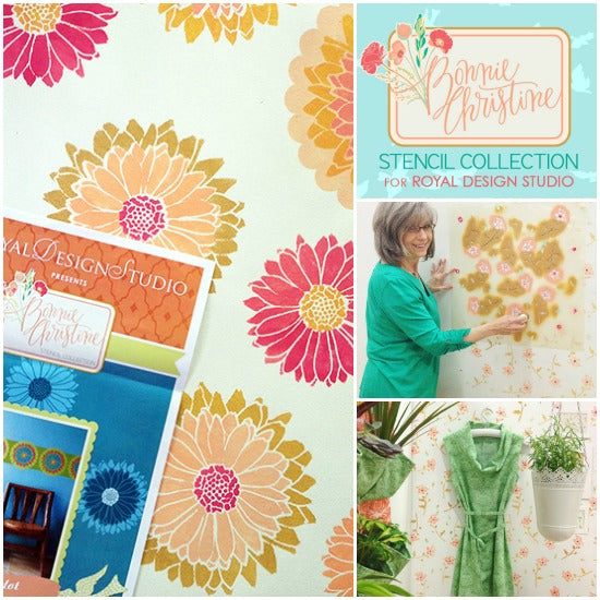 Stenciling on walls and floorcloth with Flower Stencils from the New Bonnie Christine stencil collection from Royal Design Studio