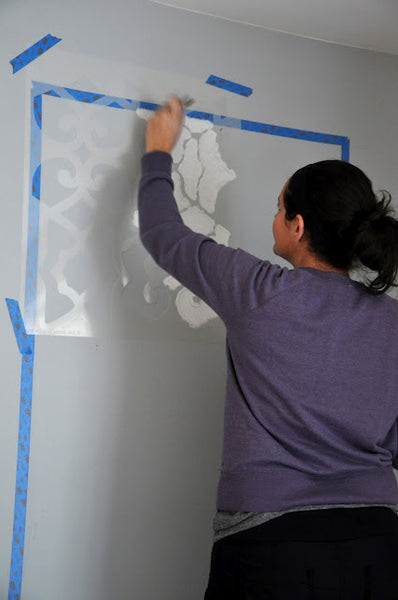 how to stencil wall panels