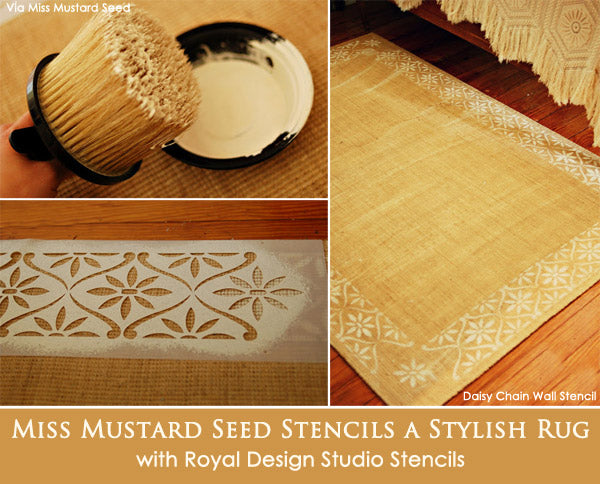 Miss Mustard Seed Stencils a Stylish Rug with Royal Design Studio Stencils