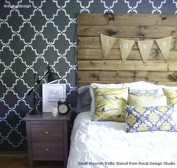 Stenciled Feature Wall with the Royal Design Studio Small Moorish Trellis Stencil
