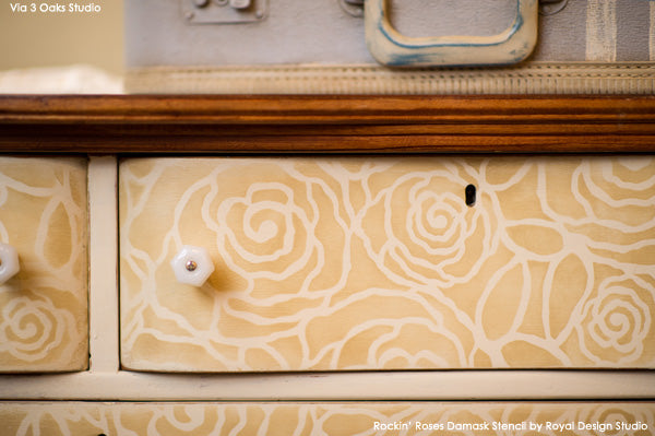 Rockin' Roses Damask Stencil on Dresser Drawers | Royal Design Studio