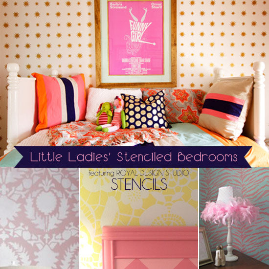 Super cute stencil ideas for decorating little girl's bedrooms