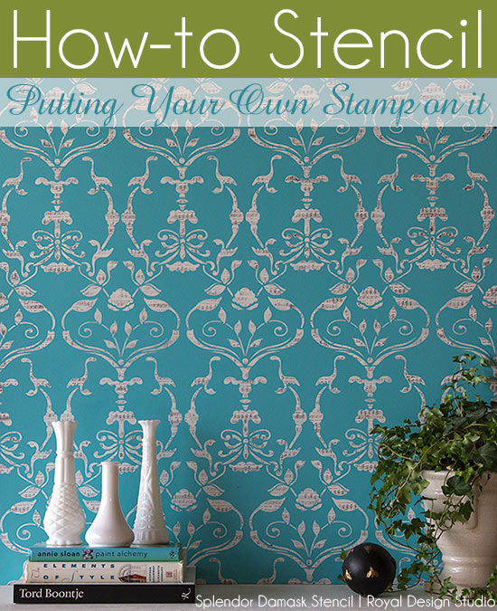 Stencil How-to: Combining allover wall stencils with craft stamps for a fun, decorative wall finish. Splendor Damask Stencil by Bari J for Royal Design Studio Stencils