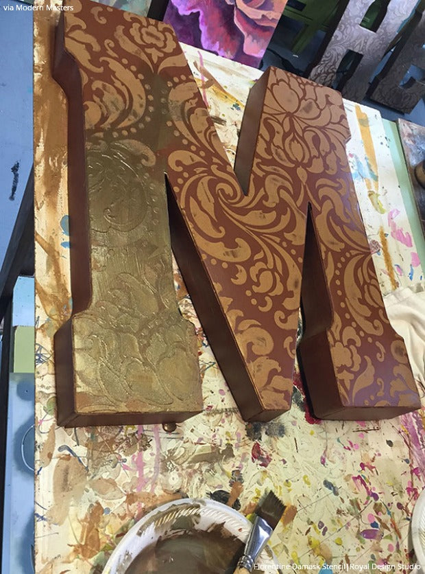 DIY Wall Art Stencil Tutorial from Royal Design Studio: Painted Patina Wall Letters for Outdoor Home Decor