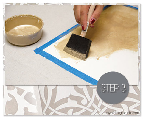 How to begin stenciling project with metallic stencil cremes