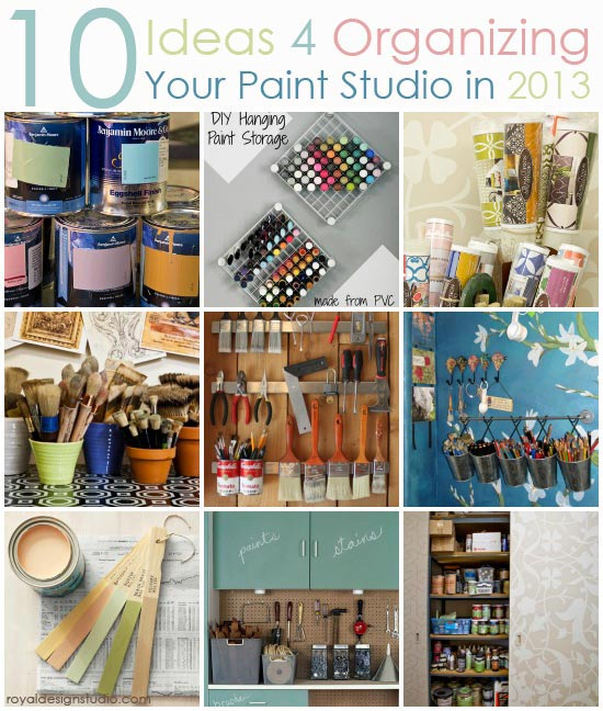 Paint, stencil, and craft studio organizing ideas