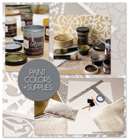 Using Royal Stencil Creme paints and Moroccan stencils from Royal Design Studio to create lovely wall art