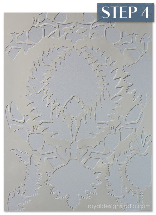 Silk Road Suzani stencil from Royal Design Studio stencils. How-to create a stenciled fabric finish.