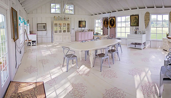 Large Ribbon Damask Stencil from Royal Design Studio in painted and stenciled floor of Sweet South Cottage.