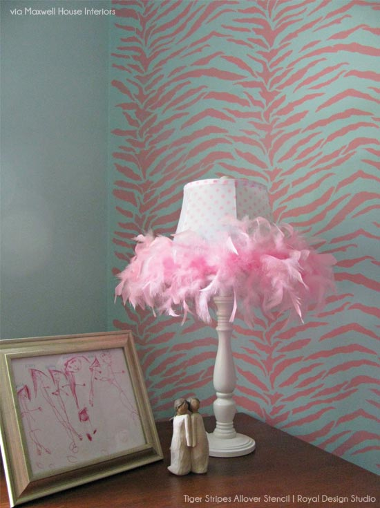 Tiger Stripes Allover Stencil in pink for a little girl's bedroom | Royal Design Studio