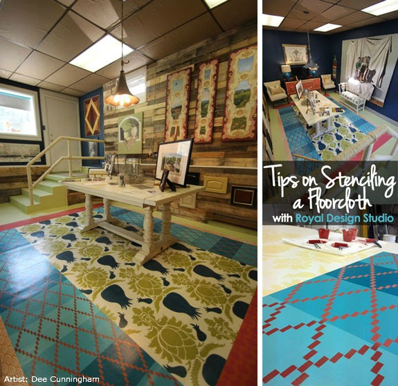 stenciling a floorcloth