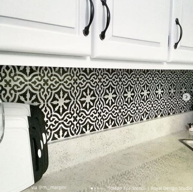 Back to Back: Kitchen Backsplash Painting Stencils from Royal Design Studio - DIY Backsplash Wall Tiles Paint Stencils - royaldesignstudio.com