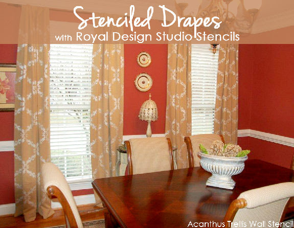 Stenciled Drapes with Royal Design Studio stencils