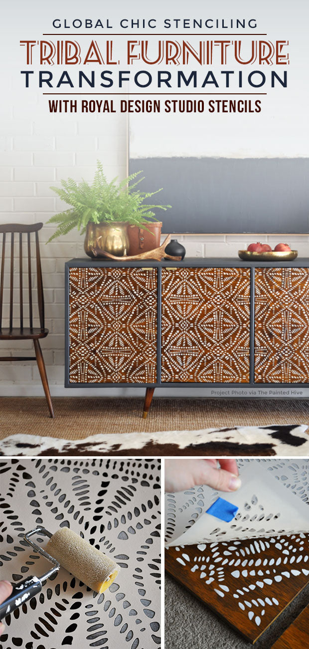 Tribal Furniture Stencils Idea On Global Chic Diy Upcycle