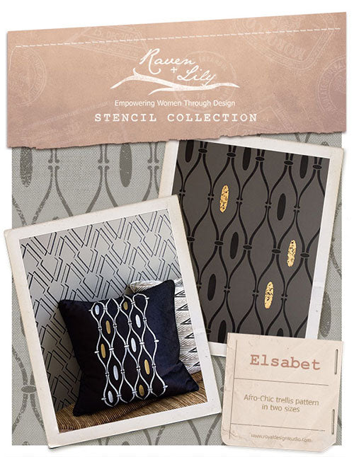 Afro-CHIC! Elsebet Tribal Trellis Stencil from the Raven + Lily Stencil collection for Royal Design Studio.