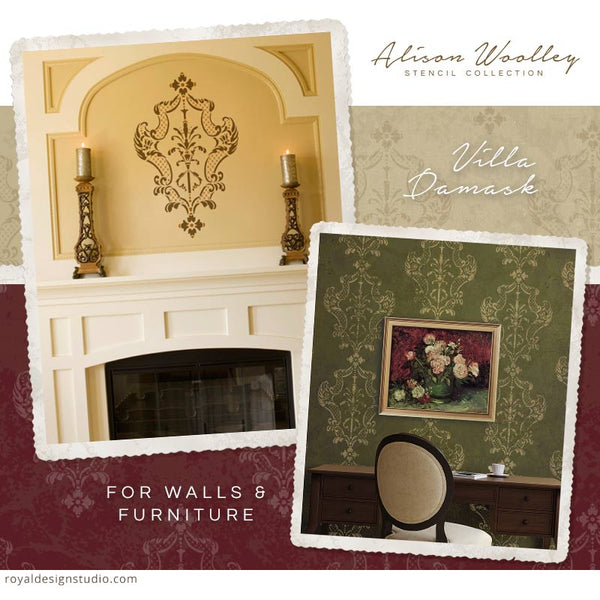 New Designer Stencils for Royal Design Studio: Italian Stencils by Alison Woolley - Decorate Your Home with Italian Design and Large Damask Stencils