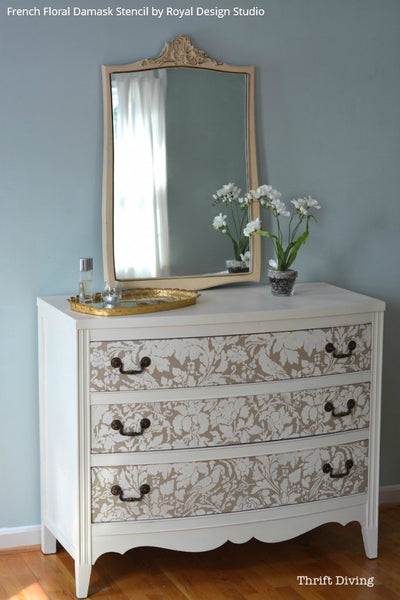 Paint and Stencil a Pretty Dresser is 10 Easy Steps! - Painted Furniture Stencils from Royal Design Studio