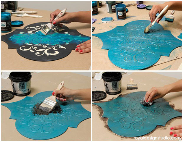 How to dry brush with Royal Stencil Creme Paints. DIY wall art with Wall Art Wood Shapes from Royal Design Studio