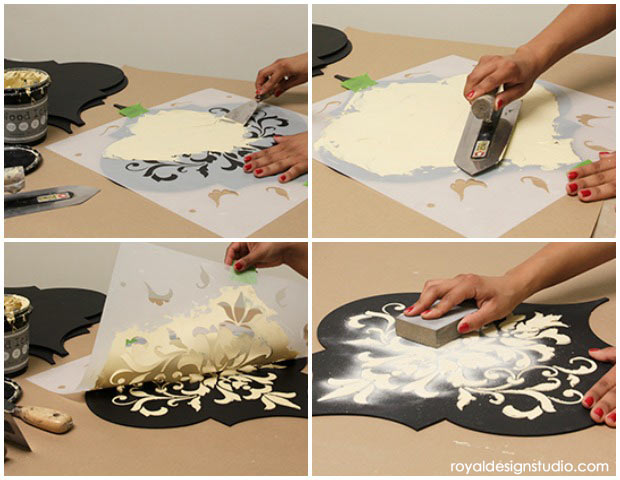 How to stencil emboss with Wood Icing on Wall Art Wood Shapes from Royal Design Studio