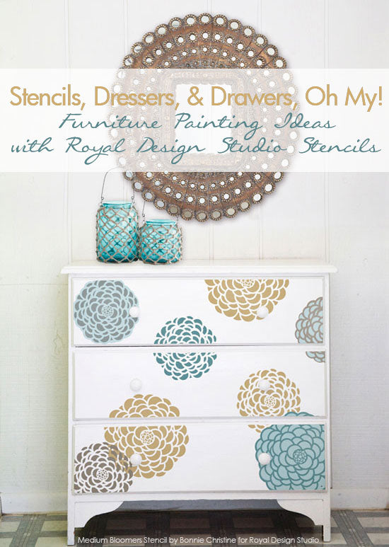 Stencil pattern ideas for dressers and drawers royal for Design patterns for pot painting