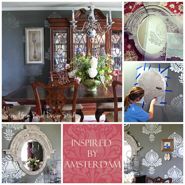 Damask Wall Stencils Create Elegant Dining Room